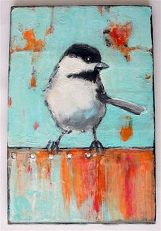 "Love this ""Bird on a Tin Fence"" - Original Fine Art for Sale - © Diana Mulder"