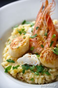 Risotto royal avec gambas st Jacques et lotte. Seafood Recipes, Dinner Recipes, Cooking Recipes, Healthy Recipes, Dog Recipes, Cream Recipes, Salty Foods, Rice Dishes, Gastronomia