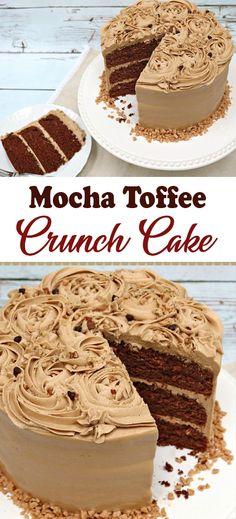 Mocha Toffee Crunch Cake Recipe – Desserts World Espresso Cake Recipe, Choclate Cake Recipe, Toffee Cake Recipe, Chocolate Mocha Cake, Cake Receipe, Chocolate Crunch, Easy Cake Recipes, Chocolate Cheesecake, Dessert Recipes