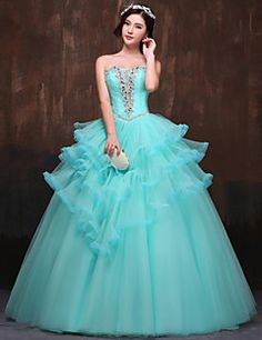 Formal+Evening+Dress+Ball+Gown+Strapless+Floor-length+Satin+/+Tulle+/+Polyester+with+Beading+/+Crystal+Detailing+/+Ruffles+/+Side+Draping+–+USD+$+169.99