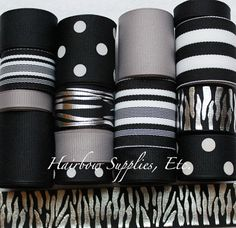 15 Yd Black Metallic Zebra Grosgrain Ribbon by HairbowSuppliesEtc