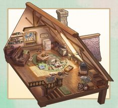 pixiv is an illustration community service where you can post and enjoy creative work. A large variety of work is uploaded, and user-organized contests are frequently held as well. Art Isométrique, Bd Art, Environment Concept, Environment Design, Isometric Art, Modelos 3d, Fantasy House, Environmental Art, Pixel Art