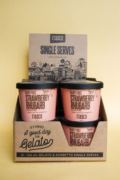 Fiasco Gelato has come out with an adorable new line of single-serve pints of gelato just in time for the summer! Ice Cream Packaging, Cake Packaging, Brand Packaging, Product Packaging, Ice Cream Tubs, Sorbet Ice Cream, Gelato, Ice Cream Brands, Packaging Design Inspiration