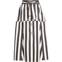 Nina Ricci Striped Silk Midi Skirt (£1,275) ❤ liked on Polyvore featuring skirts, multicolored, striped skirt, white midi skirt, nina ricci, print skirt and silk skirt