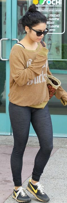 Who made Vanessa Hudgens' brown sweatshirt and sneakers that she wore in North Hollywood on August 4, 2012?