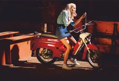 Scooters, Scooter Girl, Vintage Posters, Cars And Motorcycles, Motorcycle Girls, Bike, Vehicles, Places, Photography