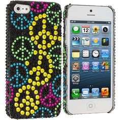Colorful Peace Sign Bling Rhinestone Case Cover for Apple iPhone 5 / 5S
