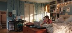 Hazel grace's room--love the trees and lights