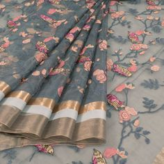 Buy online Embroidered Bluish Grey Organza Fancy Saree With Floral, Bird Motifs & Zari Border 10014472