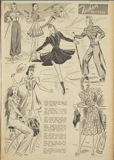 1930s Fashion, Vintage Fashion, Vintage Style, Vintage Dress Patterns, Vintage Dresses, Big Shoulders, Designs For Dresses, Winter Sports, Fashion History