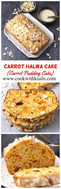 Carrot Halwa Cake is a fusion dessert that is rich incredibly moist and filled with full of flavor. It is then topped with sour cream glaze which compliments it very well. And the end result is the best CARROT CAKE you will ever make! Healthy Cake Recipes, Delicious Cake Recipes, Cupcake Recipes, Yummy Cakes, Baking Recipes, Sweet Recipes, Cupcake Cakes, Dessert Recipes, Yummy Food