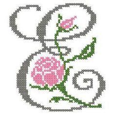 motif-Point de croix-Abc Rose anglaise-E