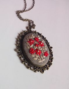Hand Embroidered Red Flower Necklace Long Chain by RedWorkStitches