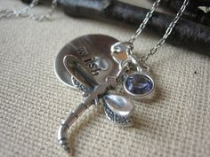 Hand Stamped Wish Dragonfly Necklace with tanzanite by SharinAnn, $35.00