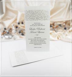 Bílé svatební oznámení s nádechem perleti - G949