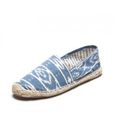 Ikat blue espadrilles by Soludos. Fabrics are handmade in India using centuries old weaving and dying techniques. Natural eco-friendly jute sole.