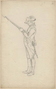 Sketches of British soldiers made by Philippe Jacques de Loutherbourg at Warley Commons in 1778 25th Regiment of Foot