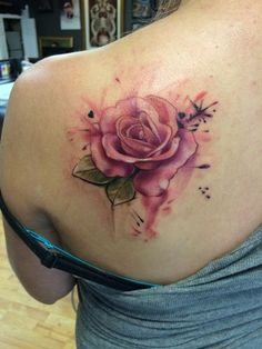 Mike Riedl - Color watercolor rose tattoo, Mike Riedl Art Junkies Tattoo