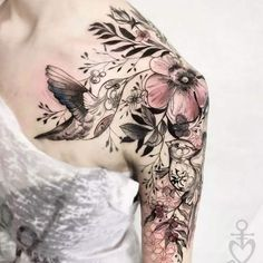 Beautiful Floral Tattoos Designs And Ideas Best Floral Tattoos: Awesome floral tattoo design with bird on shoulder for women.Best Floral Tattoos: Awesome floral tattoo design with bird on shoulder for women. Unique Half Sleeve Tattoos, Cool Shoulder Tattoos, Mens Shoulder Tattoo, Full Sleeve Tattoos, Tattoo Sleeve Designs, Flower Tattoo Shoulder, Upper Shoulder Tattoo, Female Tattoo Sleeve, Feminine Shoulder Tattoos