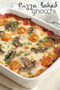 Pizza baked gnocchi. Made with spinach, jalapeno and red peppers - will try with mushrooms and maybe quorn chicken next time
