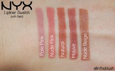 """NYX Slim Lip Pencil Swatches in """"Pale Pink"""", """"Nude Pink"""", """"Natural"""", """"Mauve"""", and """"Nude Beige"""""""