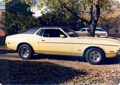 My first car looked just like this but with a white vinyl top. It was a 72 Mustang.