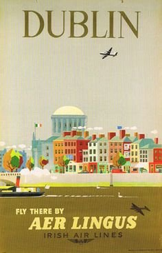 This 1956 Aer Lingus advertisement designed by Guus Melai features the north quays of Dublin city.
