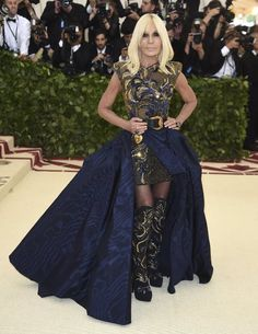 Check out the most wild outfits on the 2018 Met Gala red carpet! Donatella Versace, Amal Clooney, Irina Shayk, Blake Lively, Rihanna, Met Gala Red Carpet, Marine Uniform, Blue Dresses, Formal Dresses