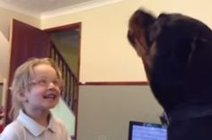Watch This Adorable Little Girl And Her Rottweiler Sing Nursery Rhymes Together