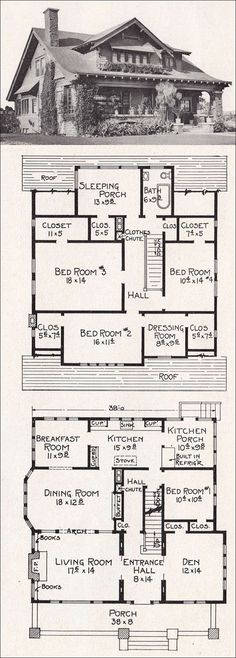 """1918 Bungalow Plan No. R88 by E. W. Stillwel.  ' """"Provision is made for the following conveniences: Bookcases, fireplace, coat closet, kitchen cabinets, buffet, built-in refrigerator, laundry on screen porch, large closets on second floor and clothes chute."""" Quite a grand house at about 2500 sf, though it has but a single bathroom.'"""