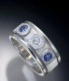 Three nail head Ring : Sterling, Ceylon Sapphire, Diamond © Robert Grey Kaylor  2012