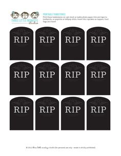 Free Tombstone Cupcake Toppers from Three Little Monkeys Studio