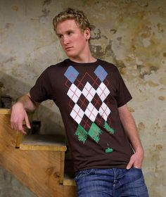 Space Invaders shooting Argyle shirt