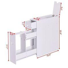 Narrow Wood Floor Bathroom Storage Cabinet Holder Organizer - White