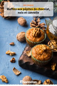 Succumb to these delicious chocolate chip, nut and cinnamon muffins! Diet Recipes, Cooking Recipes, Cinnamon Muffins, 20 Min, Delicious Chocolate, Cocktail Recipes, Biscotti, Sweet Tooth, Chips