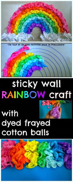 Sticky wall rainbow craft with dyed frayed cotton balls: Great color sorting activity for kids!