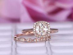 Cushion Moissanite Engagement Ring Sets Pave Diamond Wedding 14K Rose Gold 6.5mm