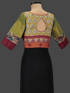 Ochre-Green Embroidered Cotton Blouse