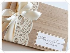 Tan Custom Wedding Guestbook with Lace Band (made to order you choose cover, ribbon and page layout)