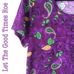This Large LuLaRoe Classic T has two of my most favorite things - purple and green ...the shirt just pops with vibrant paisley print ! Click to join my VIP group and see if she is still up for grabs! https://www.facebook.com/groups/LetTheGoodTimesROE/