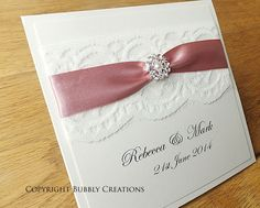 Handmade Wallet Wedding Invitation with Lace and by BubblyWeddings