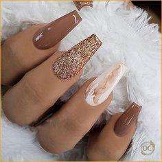 Nail Inspo 2019 hot fashion coffin nail Trend ideas, Long Co Summer Acrylic Nails, Best Acrylic Nails, Acrylic Nail Designs, Brown Nail Designs, Summer Nails, Spring Nails, Nagellack Design, Coffin Nails Long, Dope Nails