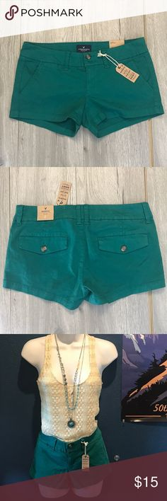 American Eagle - Turquoise Shorts (Size 2) NEW New w/ Tags. Never worn, Women's size 2! Cute short shorts :) American Eagle Outfitters Shorts