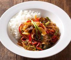 Korean Food | Japchaebop | Stir-Fried Vermicelli Noodles With Vegetables And Rice