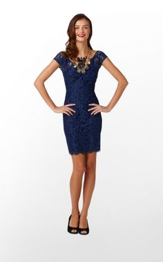 Lilly Pulitzer Rosaline Dress in About Face Lace, Bright Navy $278.00