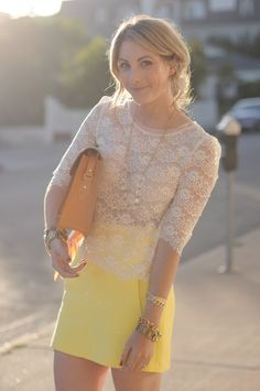 yellow skirt, white lace top- love
