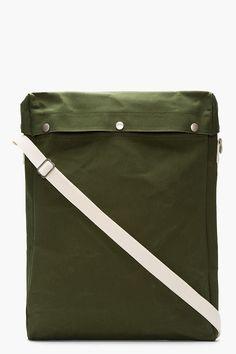 COMME DES GARÇONS SHIRT Green Canvas Snap-Button Tall Messenger Bag