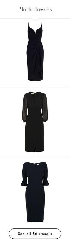 """Black dresses"" by dresslikearoyal ❤ liked on Polyvore featuring dresses, vestidos, zimmermann dresses, silk drape dress, silk dress, asymmetric drape dress, strappy dress, black, sleeved dresses and michael kors dresses"