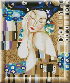0 point de croix femme par klimt - cross stitch lady by klimt