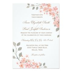 Pink and Gray Floral wedding invitation